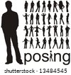 high quality traced posing people silhouettes vector illustration - stock photo