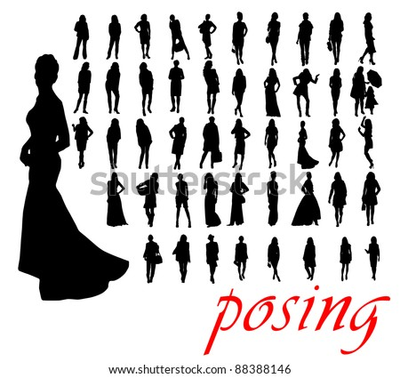 High quality traced posing woman silhouettes. Vector illustration - stock vector