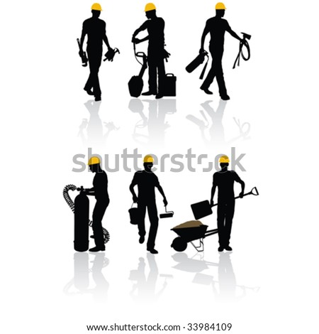 High quality vector construction workers silhouettes with different tools - stock vector