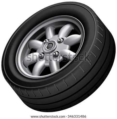 High quality vector image of compact car's wheel, isolated on white background. File contains gradients, blends and transparency. No strokes. - stock vector