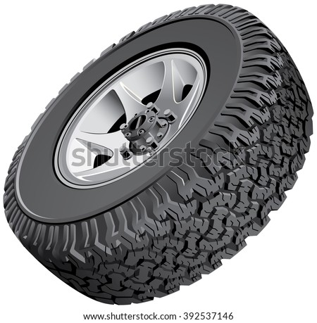 High quality vector image of offroad vehicles wheel, isolated on white background. File contains gradients. No blends, transparency and strokes.