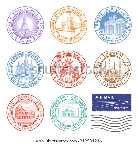 High quality Vector Stamps of major monuments around the world. - stock vector