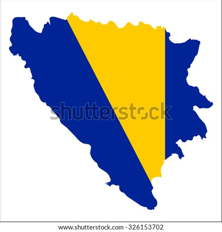 High resolution Bosnia and Herzegovina map with country flag. Flag of the Bosnia and Herzegovina  overlaid on detailed outline map isolated on white background - stock vector