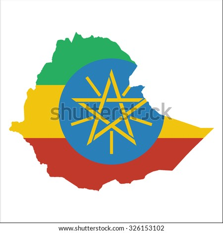 High resolution Ethiopia map with country flag. Flag of the Ethiopia  overlaid on detailed outline map isolated on white background
