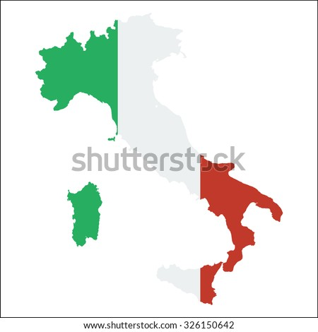 High resolution Italy map with country flag. Flag of the Italy  overlaid on detailed outline map isolated on white background - stock vector