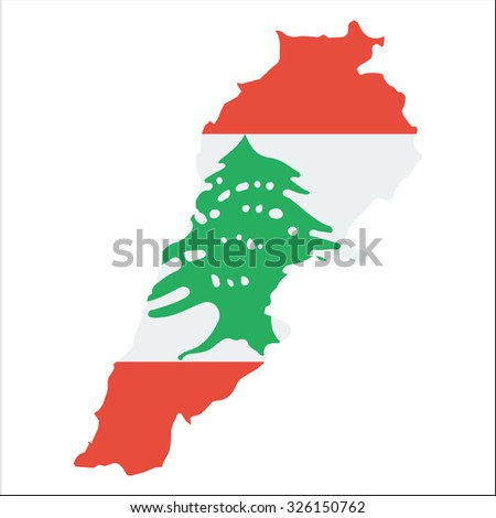 High resolution Lebanon map with country flag. Flag of the Lebanon  overlaid on detailed outline map isolated on white background - stock vector