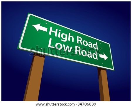 High Road, Low Road Green Road Sign Illustration on a Radiant Blue Background. - stock vector