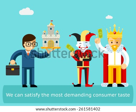 High sales and satisfied customers business concept. Marketing and success, happy client. Vector illustration - stock vector