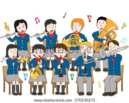 High school students music concert. - stock vector