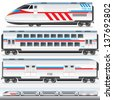 High-Speed Locomotive with Waggons. Vector Image - stock