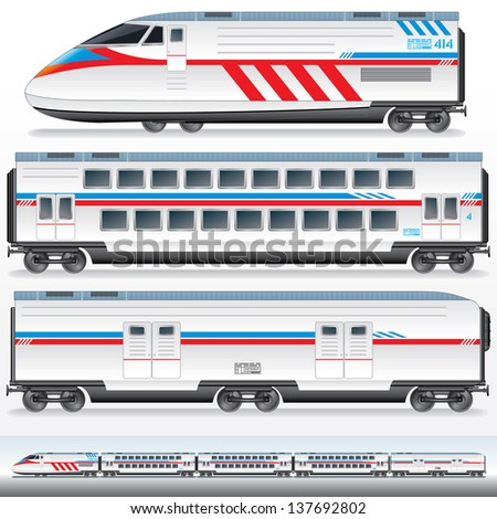 High-Speed Locomotive with Waggons. Vector Image - stock vector