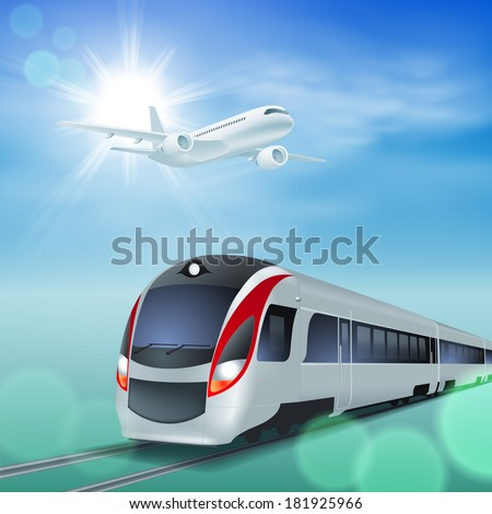 High-speed train and airplane in the sky. Sunny day. EPS10 vector. - stock vector