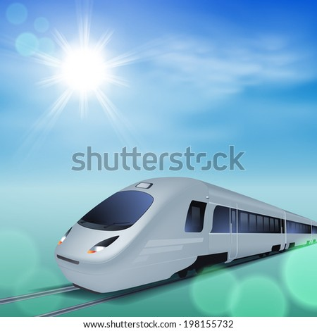 High-speed train at sunny day. EPS10 vector. - stock vector