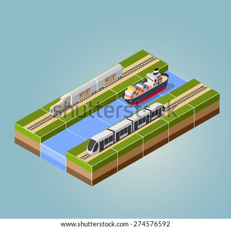 High-speed train with cargo ship with an isometric landscape - stock vector
