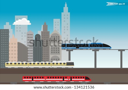 High speed train with urban city, Vector illustration template design - stock vector