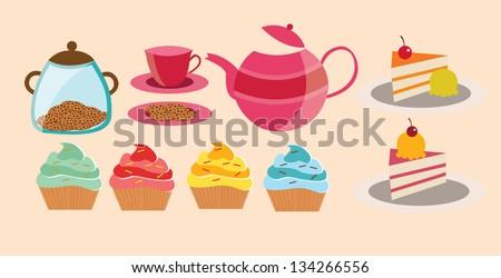 High tea set - stock vector