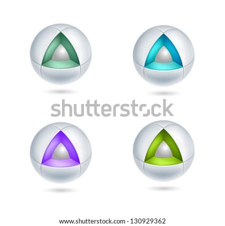 high tech abstract icons set - 3d vector - stock vector
