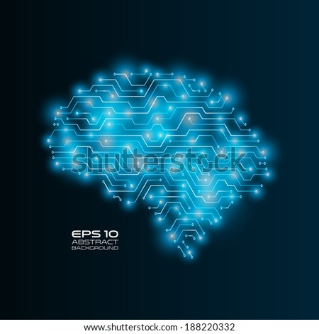 High tech background. Circuit board drawing a human brain. Futuristic vector illustration.