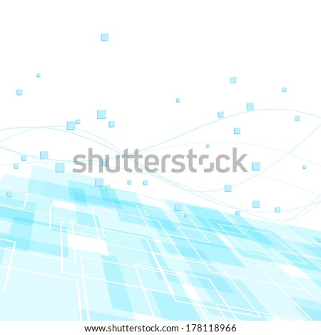 High-tech background template - blue geometry. Vector illustration - stock vector