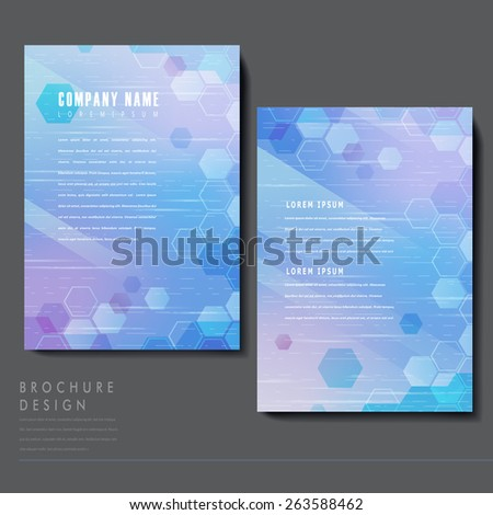 high-tech style brochure template design with translucent hexagons elements - stock vector