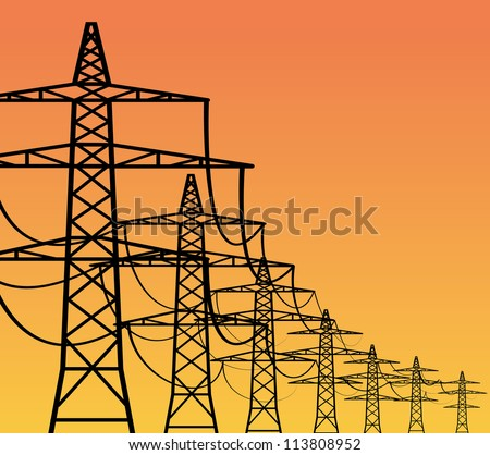 High voltage electricity pylons over sky, vector illustration - stock vector