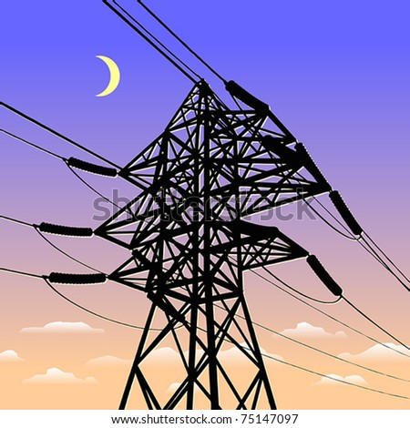 High voltage power line in sunset - stock vector