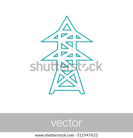 High voltage power lines. Electricity pylon icon. Stock Illustration. - stock vector