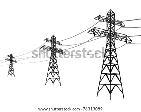 High voltage power lines. Electricity pylon silhouette. - stock vector