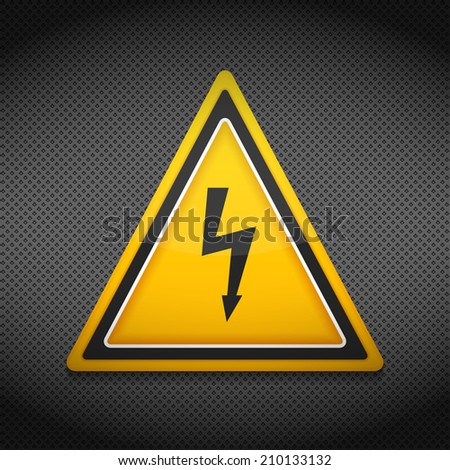 High voltage sign on dark background, vector eps10 illustration - stock vector