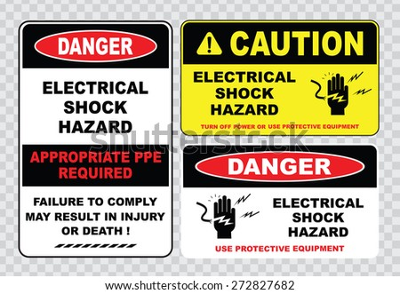 high voltage sign or electrical safety sign (electrical shock hazard appropriate ppe required failure to comply may result in injury or death) - stock vector