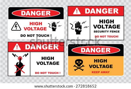 high voltage sign or electrical safety sign (high voltage do not touch, security fence, keep away).  - stock vector