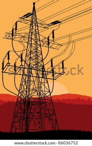 High voltage tower and line background vector at sunset - stock vector