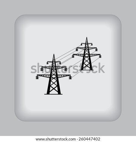 High, voltage, tower, line, vector, illustration, icon, flat  - stock vector