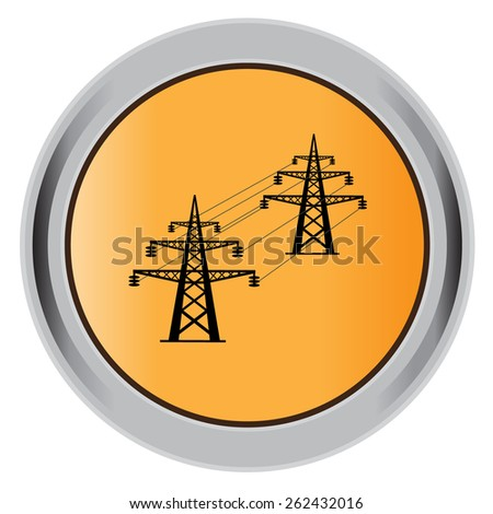 High, voltage, tower, line, vector, illustration, icon, flat, button, orange. - stock vector