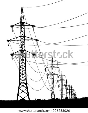 high voltage towers silhouette / vector illustration - stock vector