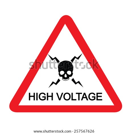 High voltage triangle sign  vector isolated, warning sign, safety sign, danger alert - stock vector