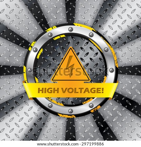 High voltage warning sign on metallic plate background - stock vector
