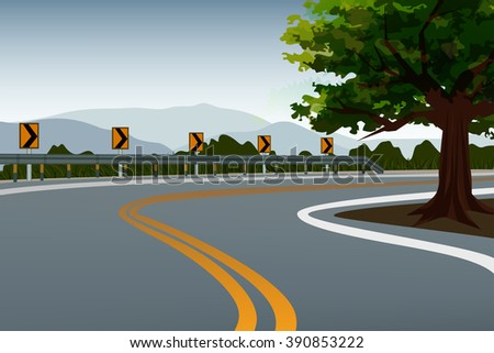 high way crook road country scape and background mountain vector