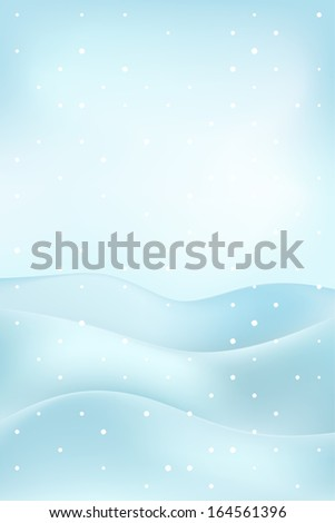 high winter landscape scene with snowy hills at snowfall vector illustration
