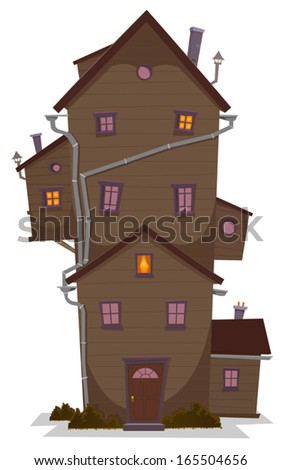 High Wood House/ Illustration of a cartoon high wooden house, castle or manor, with lots of windows and outbuilding, at night - stock vector