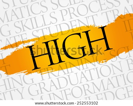 HIGH word cloud, education business concept - stock vector