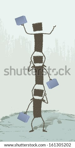 Higher!. Three business people climbing over each other. EPS8 Illustration. - stock vector
