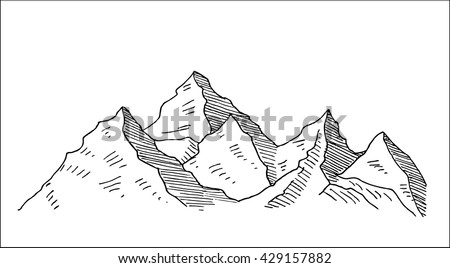 highland mountain landscape with snowy ridge, sketch style hand drawn vector illustration