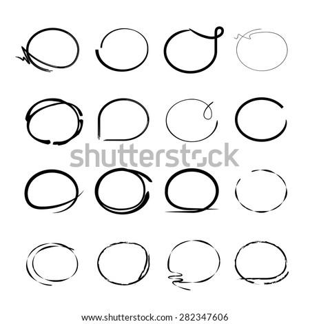 highlight marker, hand drawn circle set - stock vector