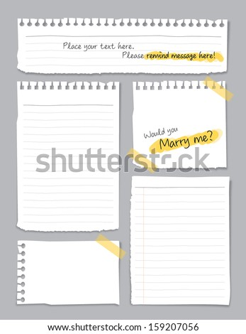 highlight message in noted Paper - stock vector