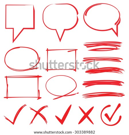 highlighter elements; bubble speech, circle, rectangle border, underline, check mark - stock vector