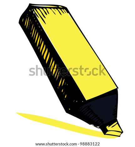Highlighter isolated on white background. Hand drawing sketch vector illustration