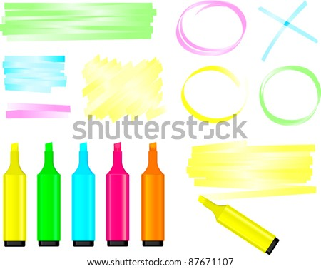 Highlighter Pens and Doodles Vector - stock vector