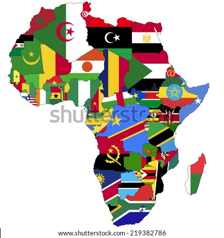 Highly Detailed Africa Map With Country Flags. - stock vector