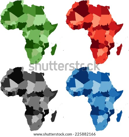 Highly Detailed Africa political map in four different color. - stock vector